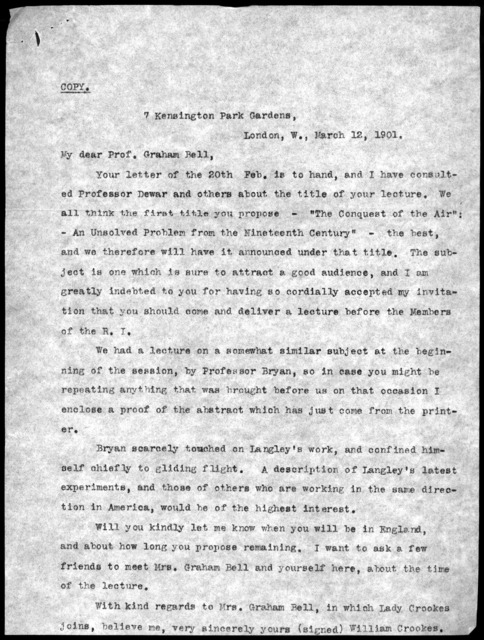Letter from Alexander Graham Bell to Mabel Hubbard Bell, March 25, 1901