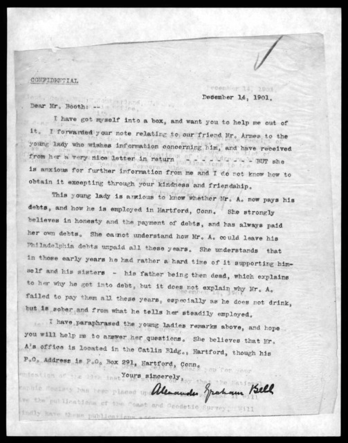 Letter from Alexander Graham Bell to Mr. Booth, December 14, 1901