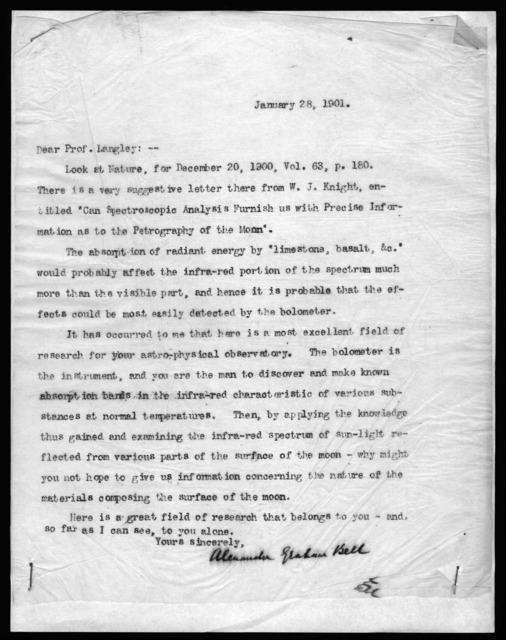 Letter from Alexander Graham Bell to Samuel P. Langley, January 28, 1901
