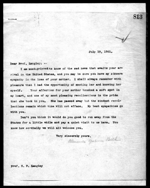 Letter from Alexander Graham Bell to Samuel P. Langley, July 19, 1901