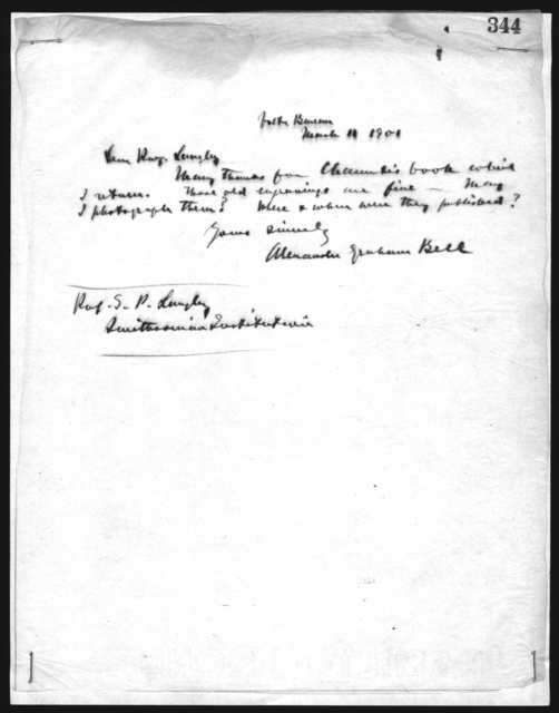 Letter from Alexander Graham Bell to Samuel P. Langley, March 11, 1901
