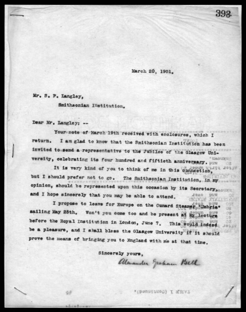 Letter from Alexander Graham Bell to Samuel P. Langley, March 20, 1901