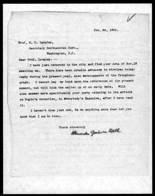 Letter from Alexander Graham Bell to Samuel P. Langley, November 26, 1901