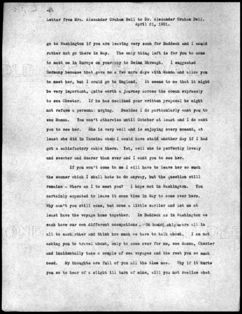 Letter from Mabel Hubbard Bell to Alexander Graham Bell, April 21, 1901