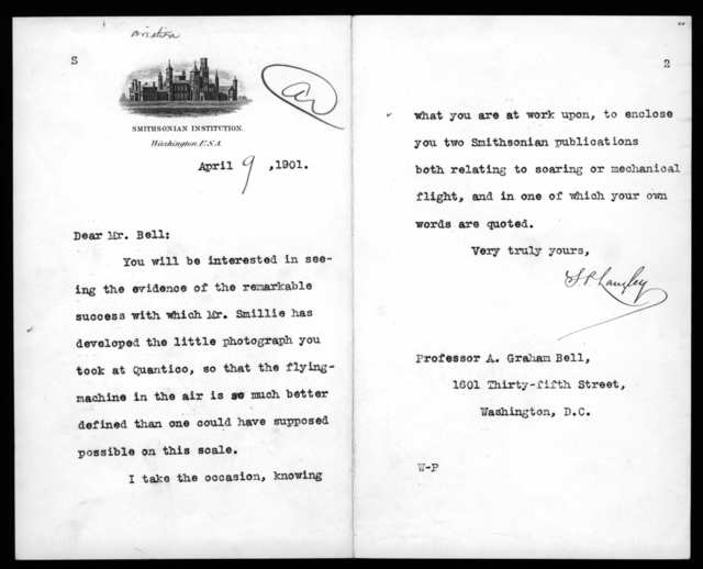 Letter from Samuel P. Langley to Alexander Graham Bell, April 9, 1901