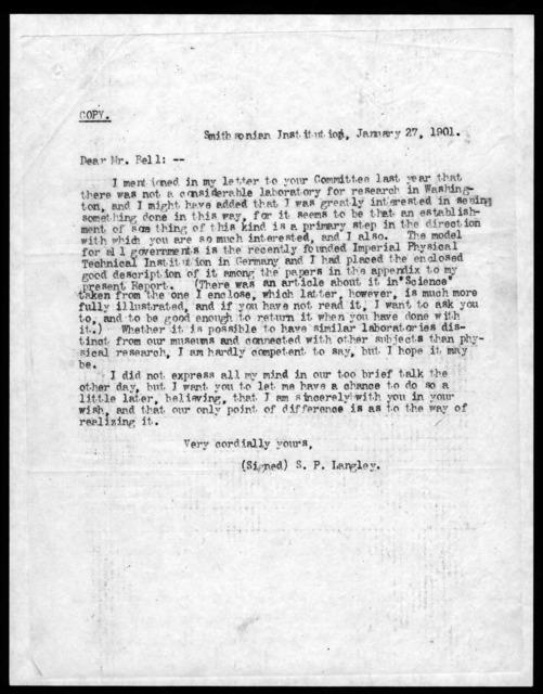Letter from Samuel P. Langley to Alexander Graham Bell, January 27, 1901