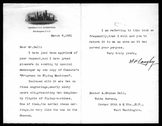 Letter from Samuel P. Langley to Alexander Graham Bell, March 9, 1901