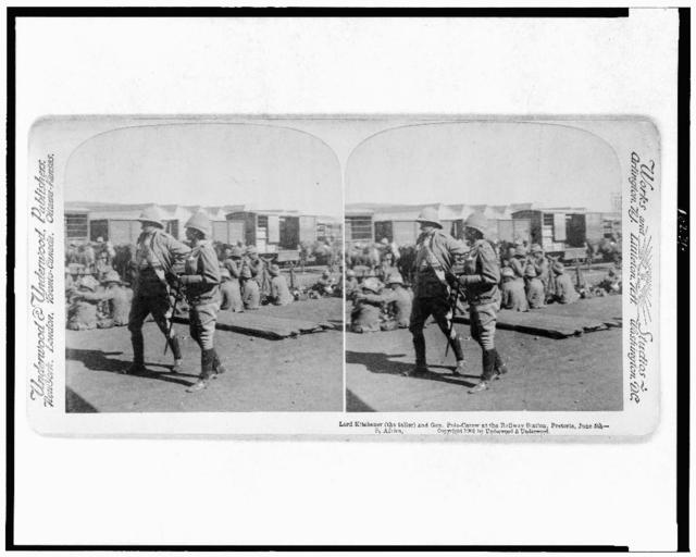 Lord Kitchener (the taller) and Gen. Pole-Carew at the railway station, Pretoria, June 5th--S. Africa