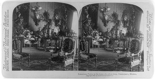 Luxurious parlor in the home of a silver king, Guanajuato, Mexico