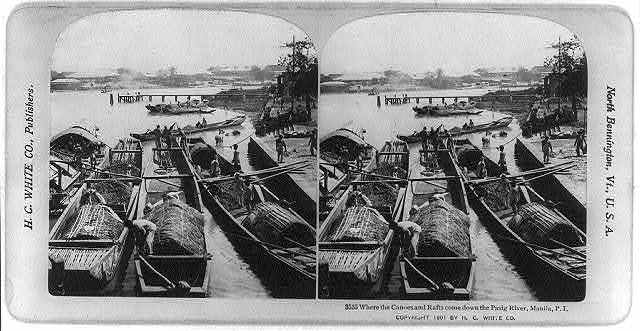 Manila, Philippine Islands: Where the canoes and rafts come down the Pasig River