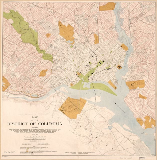 Map of the District of Columbia showing public reservations and possessions and the permanent system of highways /