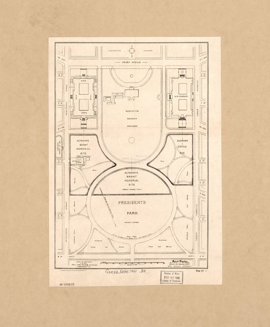 [Map of the Ellipse and White House grounds showing proposed sites for the Grant Memorial and Sherman Statue, Washington D.C.] /