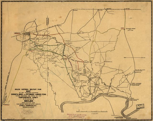 Map of the territory between Corinth, Miss. and Pittsburgh Landing, Tenn. showing positions and route of the Confederate army in its advance to Shiloh, April 3, 4, 5 & 6, 1862