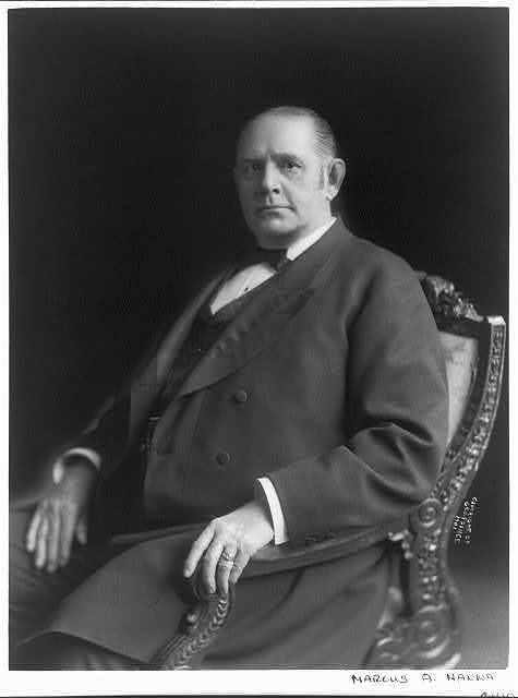 [Marcus Alonzo Hanna, 1837-1904, half-length portrait, seated, facing left]