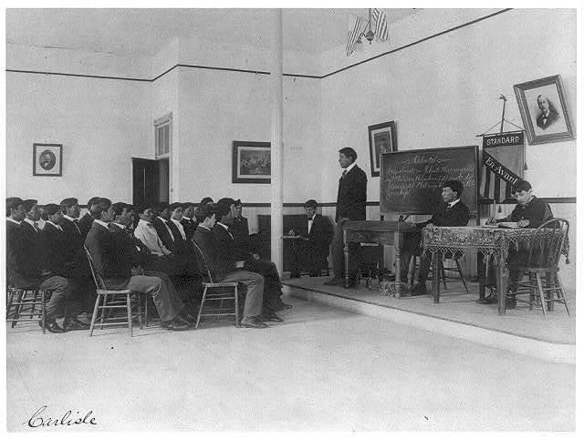 [Men debating in class, Carlisle Indian School, Carlisle, Pennsylvania]