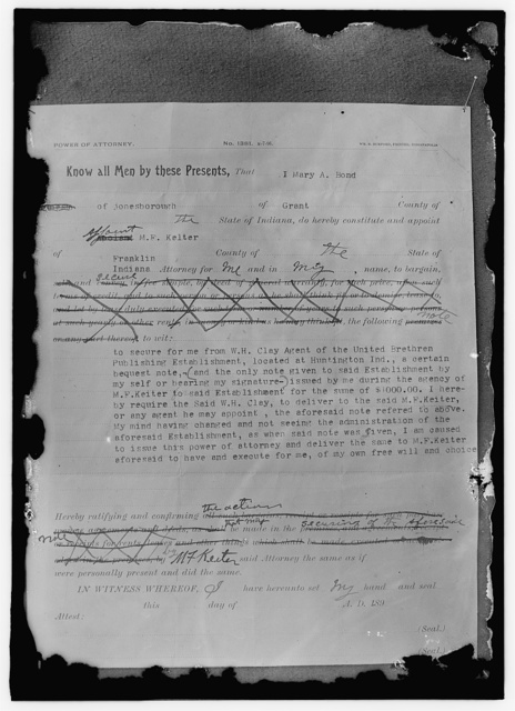 """[M.F. Keiter """"blackmail"""" document - power of attorney]"""