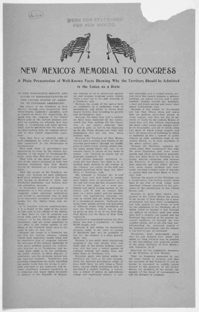 New Mexico's memorial to Congress. A plain presentation of well-known facts showing why the territory should be admitted to the Union as a state. [1901].