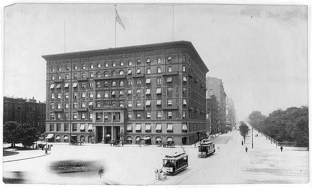 [New York City: Plaza Hotel. Horse-drawn and electric street cars in foregrd.]