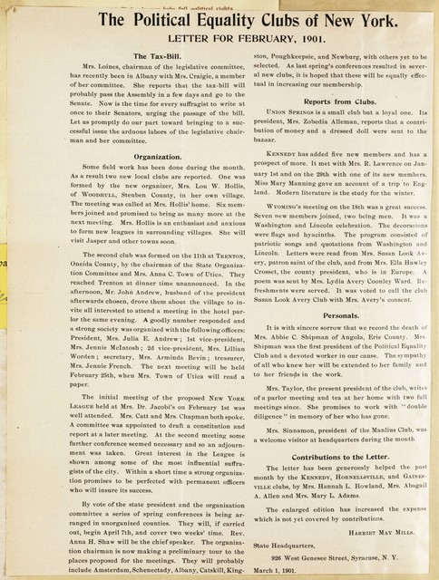 New York Political Equality Clubs Newsletter for February, 1901