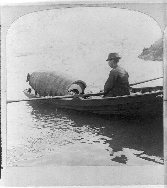 Niagara. Mrs. Taylor starting for the upper rapids preparing to risk her life in the Cataract of Niagara