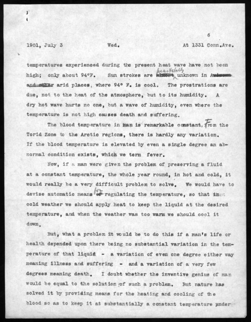 Notes by Alexander Graham Bell, July 3, 1901