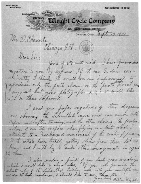 Octave Chanute Papers:  Special Correspondence--Wright Brothers, 1901