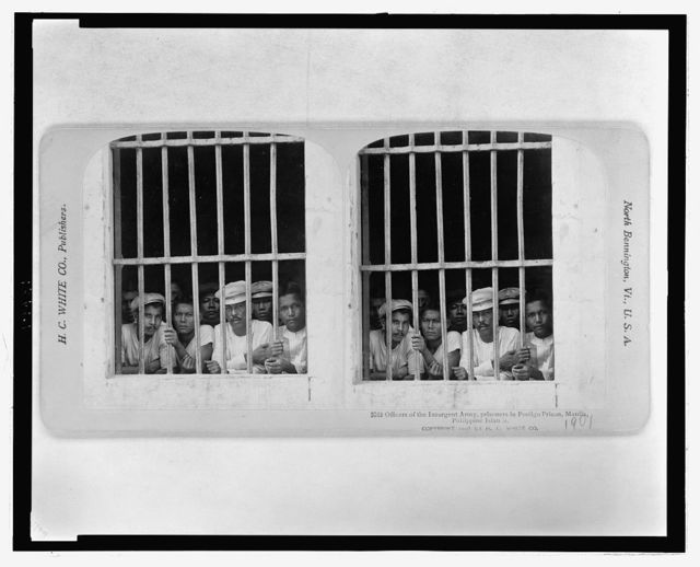 Officers of the Insurgent Army, prisoners in Postigo Prison, Manila, Philippine Islands