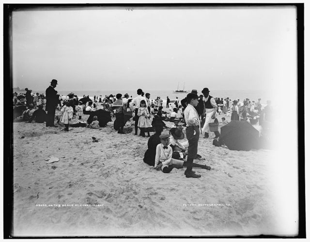 On the beach at Coney Island
