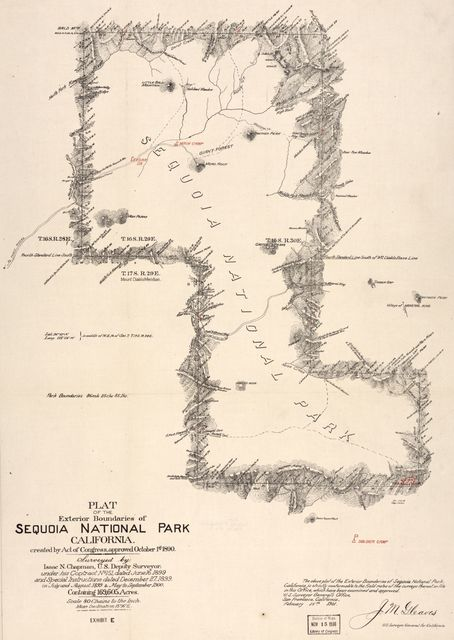 Plat of the exterior boundaries of Sequoia National Park, California : created by Act of Congress, approved October 1st, 1890 /