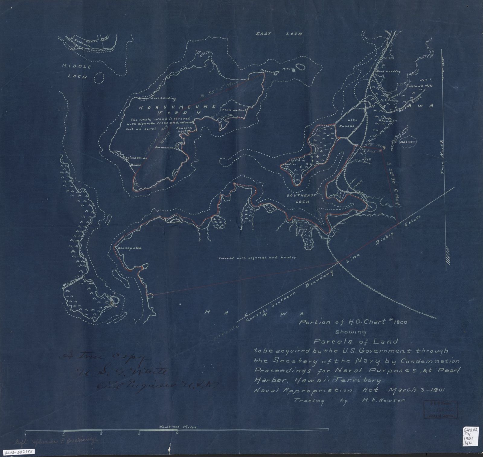 Portion of H.O. chart #1800 showing parcels of land to be acquired by the U.S. Government through the Secetary [sic] of the Navy by condemnation, proceedings for naval purposes at Pearl Harbor, Hawaii Territory, Naval Appropriation Act, March 3, 1901 /