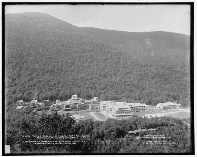 Profile House and cottages from Eagle Cliff, Franconia Notch, White Mountains