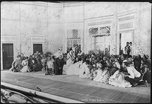 "[Scene from stage production of ""Uncle Tom's Cabin"", 1901]: Little Eva's death scene"