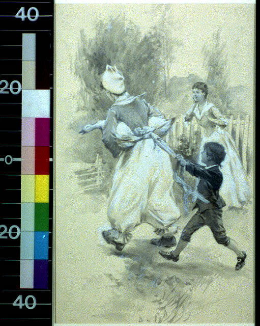 Sister Longanecker galloping buoyantly up, a goose under each arm