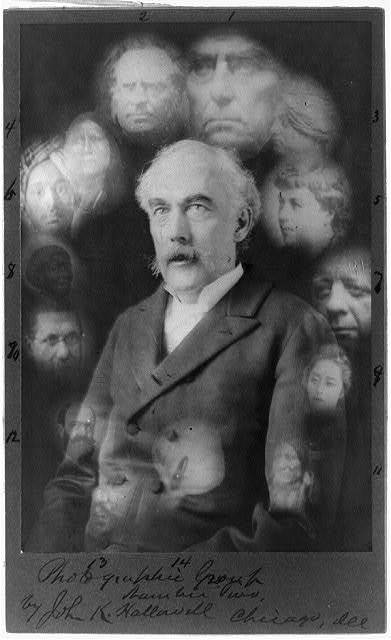 [Spirit photograph showing half-length portrait of John K. Hallowell, facing left, surrounded by super-imposed faces of fourteen deceased people] / by John K. Hallowell, Chicago, Ill. ; S.W. Fallis, photographer, Chicago.