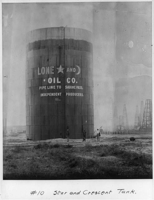 Star and crescent tank [Spindletop, Beaumont, Port Arthur, and vicinity, Texas - oil industry].