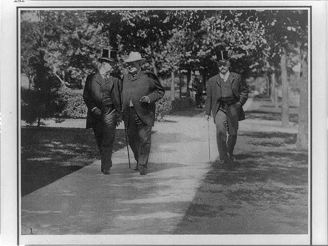 The Death of President McKinley. President Roosevelt conferring with Senator Hanna, on the way to the Milburn house