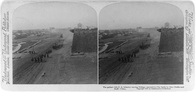 The gallant 14th U.S. Infantry leaving Peking--escorted to city limits by Gen. Chaffee and staff, China