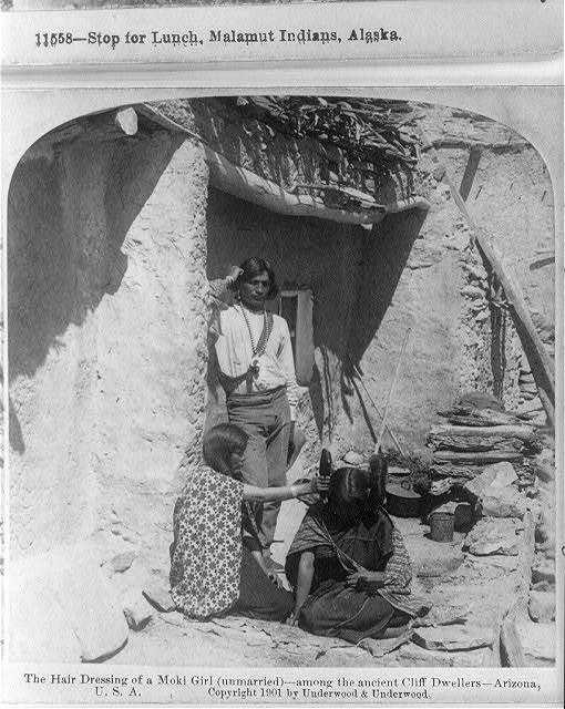 The hair dressing of a Moki Girl (unmarried) - among the ancient Cliff Dwellers - Arizona
