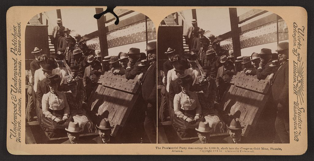 The presidential party descending the 3,000 ft. shaft into the Congress Gold Mine, Phoenix, Arizona.