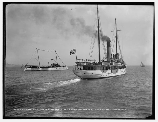 The Revenue cutter Morrill and yacht Pathfinder