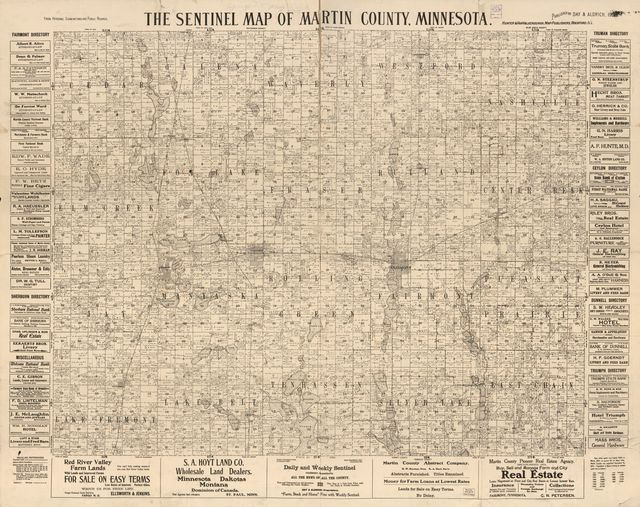 The Sentinel map of Martin County, Minnesota : from personal examinations and public records.