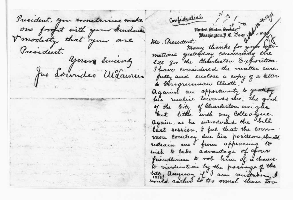 Theodore Roosevelt Papers: Series 1: Letters and Related Material, 1759-1919; 1901, Nov. 12-Dec. 16