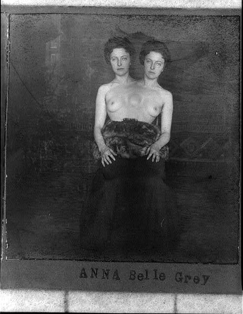 [Trick photograph of woman with two heads]
