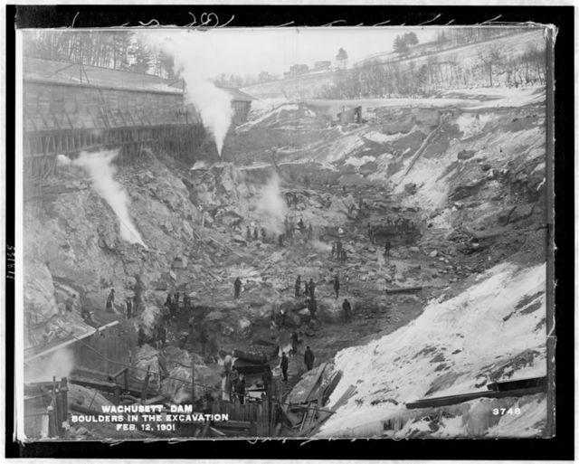 Wachusett Dam - boulders in the excavation, Feb. 12, 1901