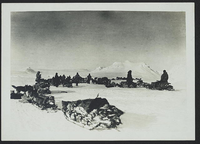 A halt in Collinson's fjord, Baldwin-Ziegler Polar Expedition, April 1902