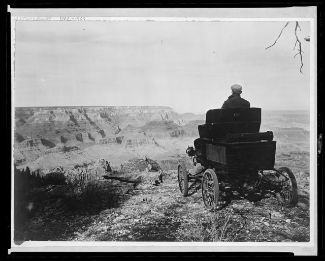 A member of the pioneer automobile party in a Toledo car at the rim of the Grand Canyon, Grand View Park, Arizona, Feb. 5, 1902