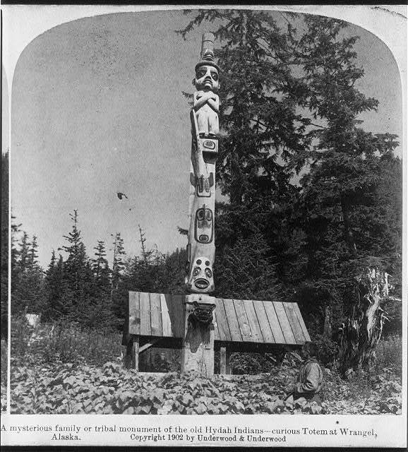 A mysterious family or tribal monument of the old Hydah Indians--curious Totem at Wrangel, Alaska
