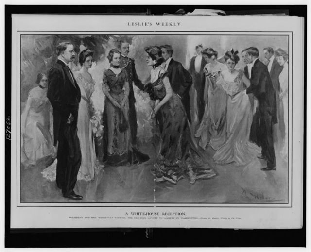 A White House reception--President and Mrs. Roosevelt restore the old-time gayety to society in Washington / Ch. Weber.