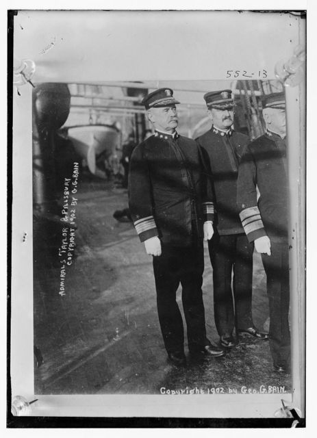 Admirals Taylor and Pillsbury, standing together, in uniform