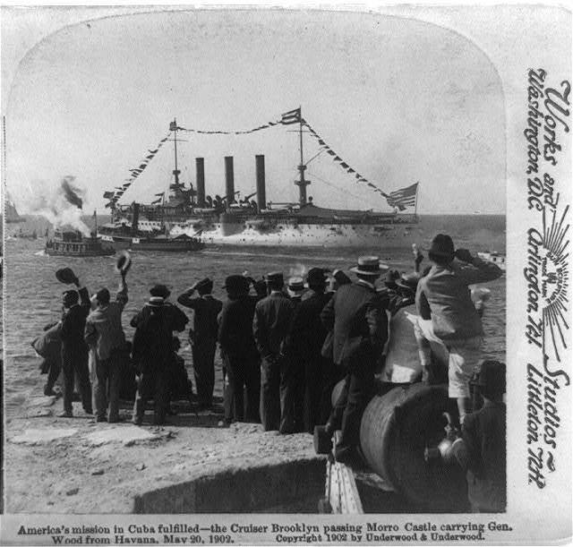 America's mission in Cuba fulfilled - the cruiser Brooklyn passing Morro Castle carrying Gen. Wood from Havana, May 20, 1902